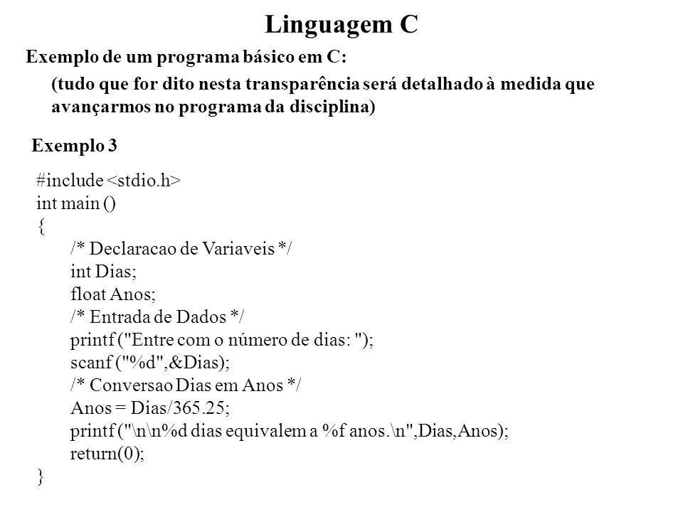 Linguagem C Exemplo de um programa básico em C: (tudo que for dito nesta transparência será detalhado à medida que avançarmos no programa da disciplin