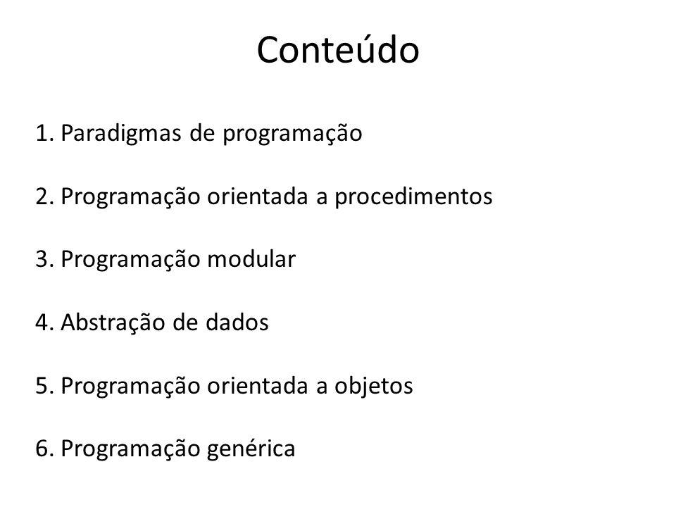 1.Paradigmas de programação 2.Programação orientada a procedimentos 3.Programação modular 4.Abstração de dados 5.Programação orientada a objetos 6.Pro