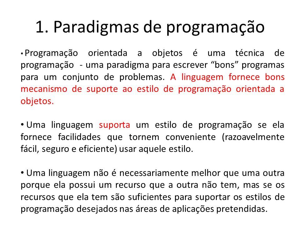1. Paradigmas de programação Programação orientada a objetos é uma técnica de programação - uma paradigma para escrever bons programas para um conjunt