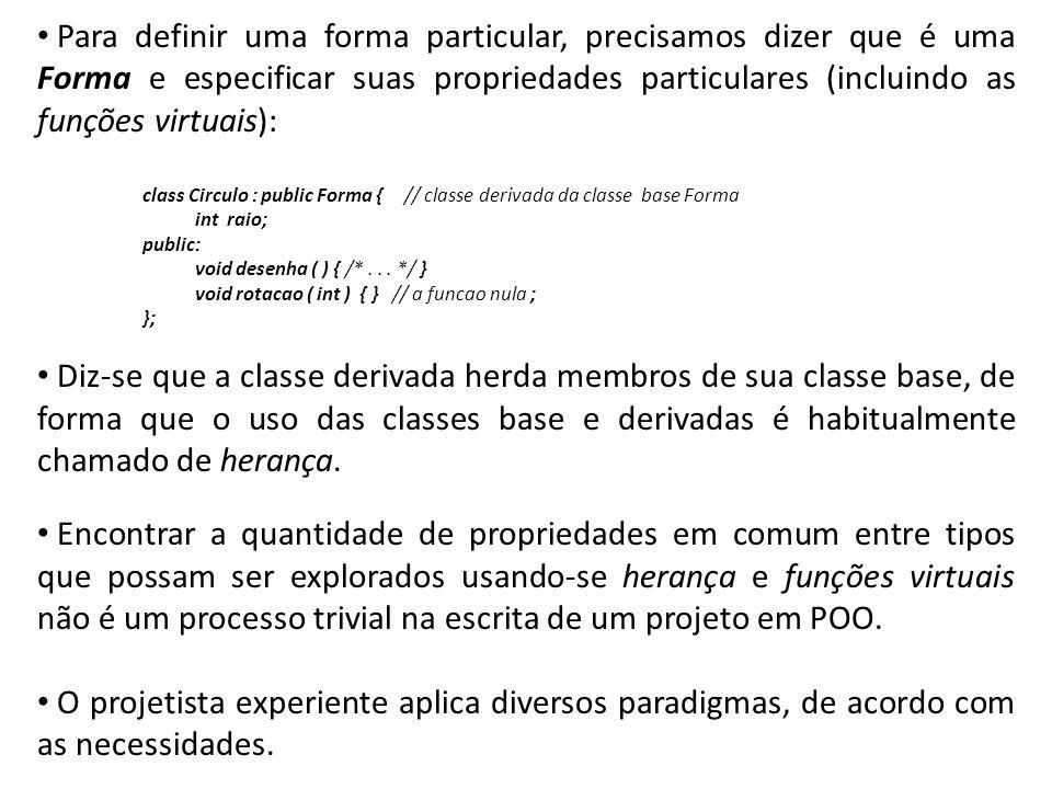Para definir uma forma particular, precisamos dizer que é uma Forma e especificar suas propriedades particulares (incluindo as funções virtuais): clas