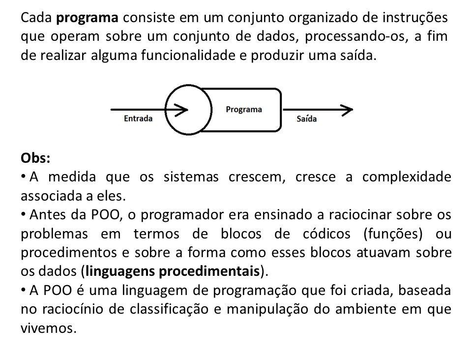 Cada programa consiste em um conjunto organizado de instruções que operam sobre um conjunto de dados, processando-os, a fim de realizar alguma funcion
