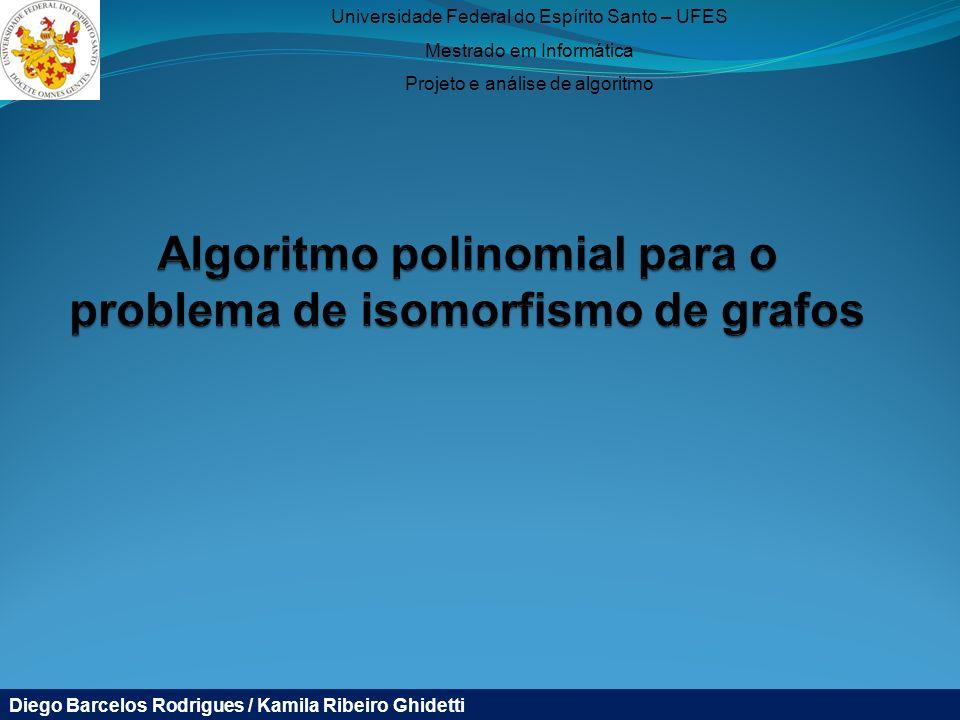 Universidade Federal do Espírito Santo – UFES Mestrado em Informática Projeto e análise de algoritmo Diego Barcelos Rodrigues / Kamila Ribeiro Ghidetti