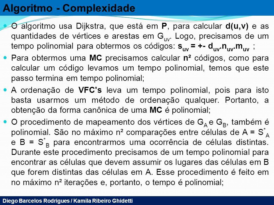 Algoritmo - Complexidade O algoritmo usa Dijkstra, que está em P, para calcular d(u,v) e as quantidades de vértices e arestas em G uv. Logo, precisamo