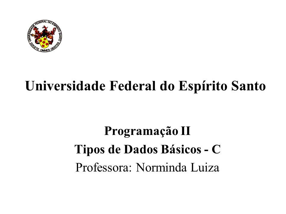 Universidade Federal do Espírito Santo Programação II Tipos de Dados Básicos - C Professora: Norminda Luiza