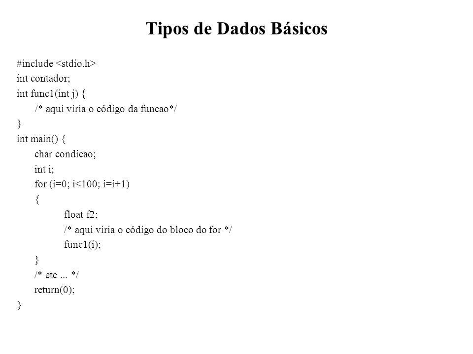 Tipos de Dados Básicos #include int contador; int func1(int j) { /* aqui viria o código da funcao*/ } int main() { char condicao; int i; for (i=0; i<1