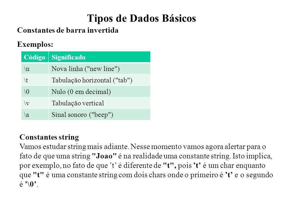 Tipos de Dados Básicos Constantes de barra invertida Exemplos: CódigoSignificado \nNova linha (
