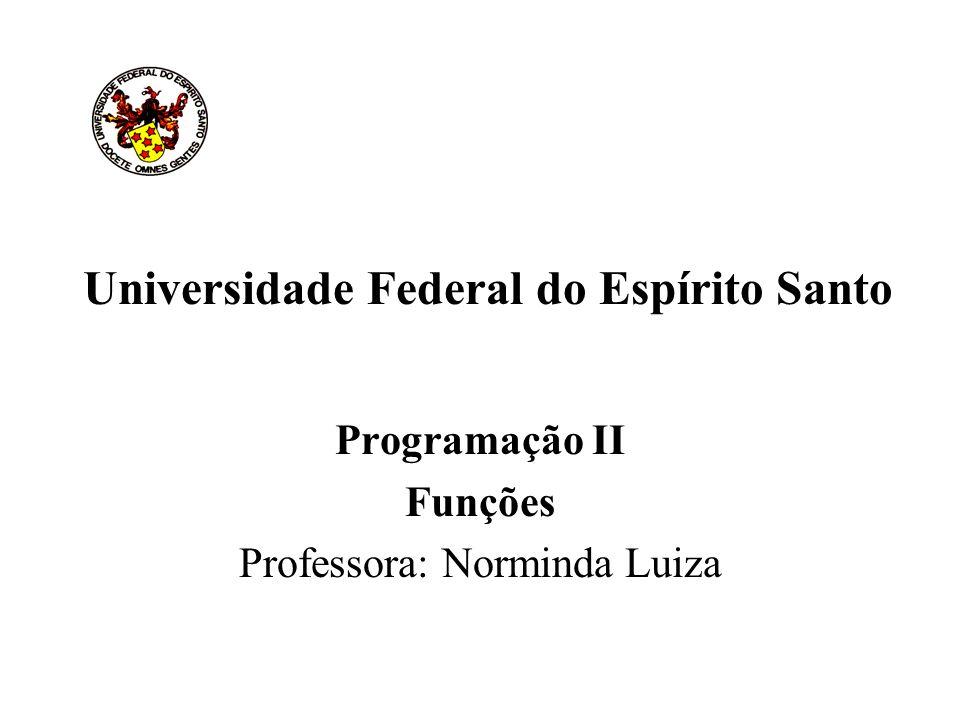 Universidade Federal do Espírito Santo Programação II Funções Professora: Norminda Luiza