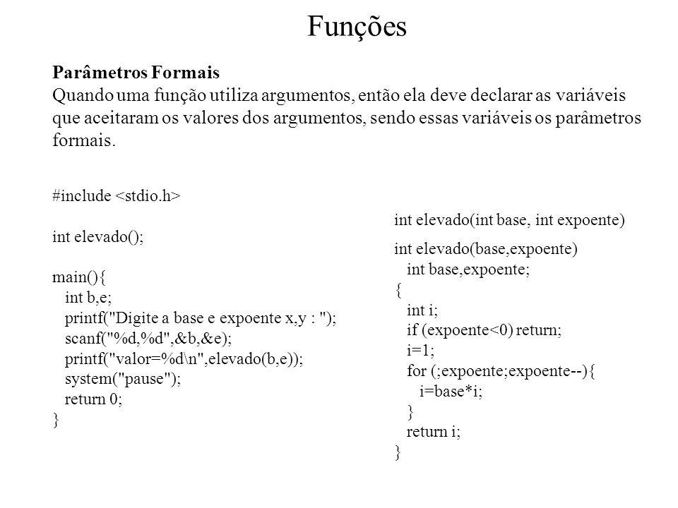 Funções Parâmetros Formais Quando uma função utiliza argumentos, então ela deve declarar as variáveis que aceitaram os valores dos argumentos, sendo essas variáveis os parâmetros formais.