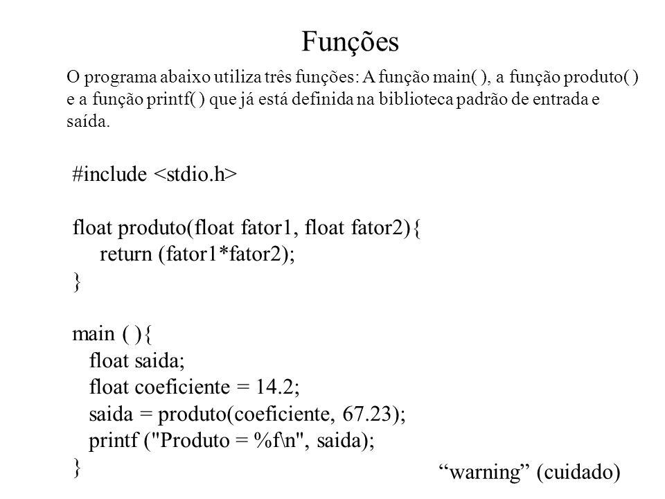 Funções #include float produto(float fator1, float fator2){ return (fator1*fator2); } main ( ){ float saida; float coeficiente = 14.2; saida = produto(coeficiente, 67.23); printf ( Produto = %f\n , saida); } O programa abaixo utiliza três funções: A função main( ), a função produto( ) e a função printf( ) que já está definida na biblioteca padrão de entrada e saída.