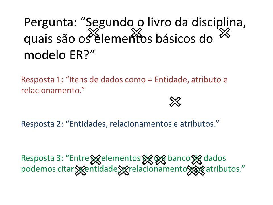 Resposta 1: Itens de dados como = Entidade, atributo e relacionamento. Resposta 2: Entidades, relacionamentos e atributos. Resposta 3: Entre os elemen