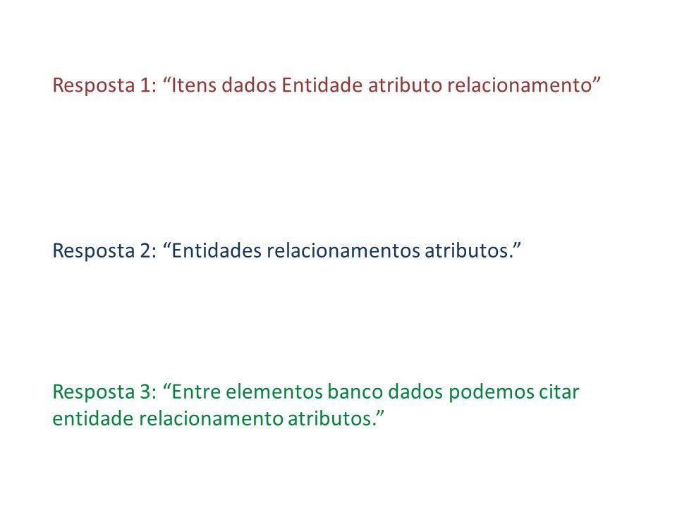 Resposta 1: Itens dados Entidade atributo relacionamento Resposta 2: Entidades relacionamentos atributos. Resposta 3: Entre elementos banco dados pode