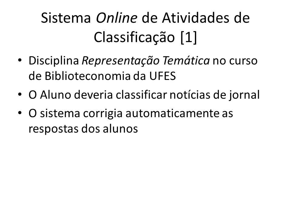 Sistema Online de Atividades de Classificação [1] Disciplina Representação Temática no curso de Biblioteconomia da UFES O Aluno deveria classificar no