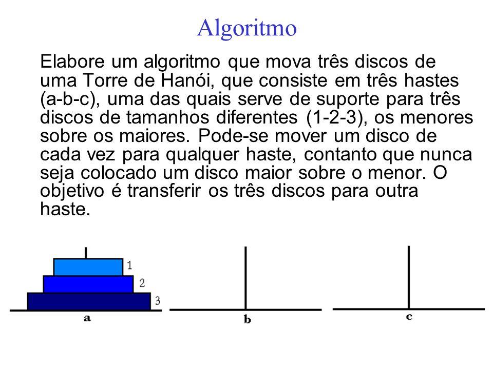 Algoritmo Elabore um algoritmo que mova três discos de uma Torre de Hanói, que consiste em três hastes (a-b-c), uma das quais serve de suporte para tr
