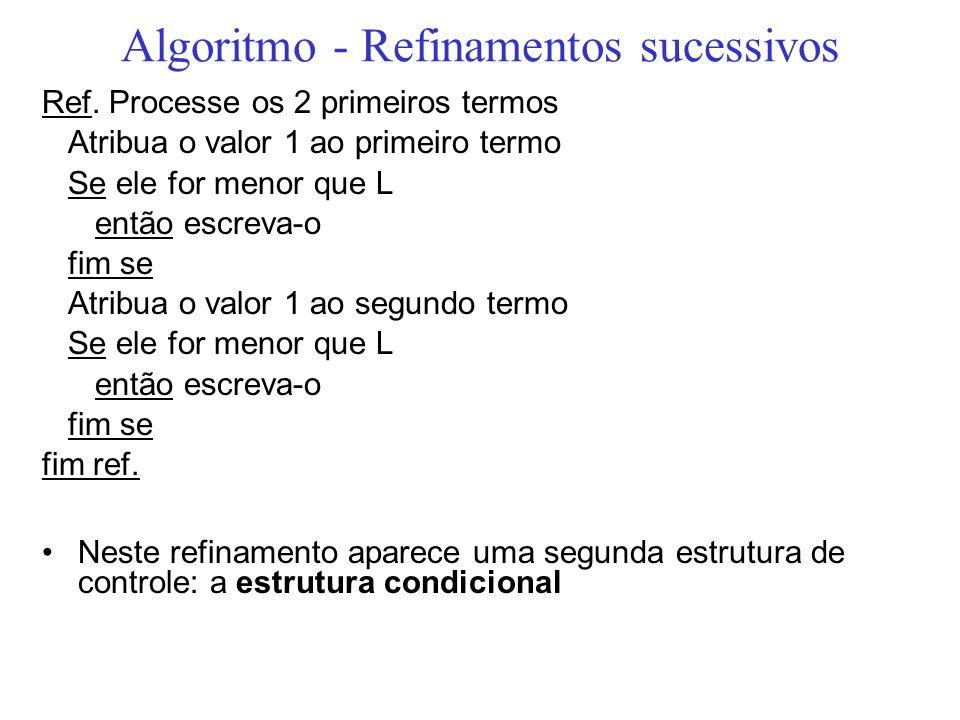 Algoritmo - Refinamentos sucessivos Ref. Processe os 2 primeiros termos Atribua o valor 1 ao primeiro termo Se ele for menor que L então escreva-o fim