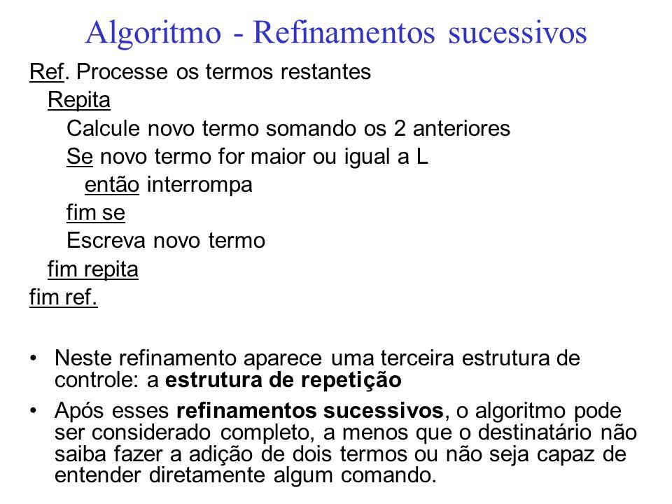 Algoritmo - Refinamentos sucessivos Ref. Processe os termos restantes Repita Calcule novo termo somando os 2 anteriores Se novo termo for maior ou igu