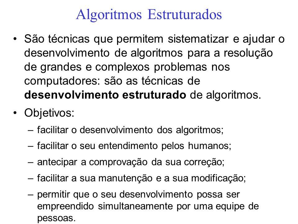 Algoritmos Estruturados São técnicas que permitem sistematizar e ajudar o desenvolvimento de algoritmos para a resolução de grandes e complexos proble