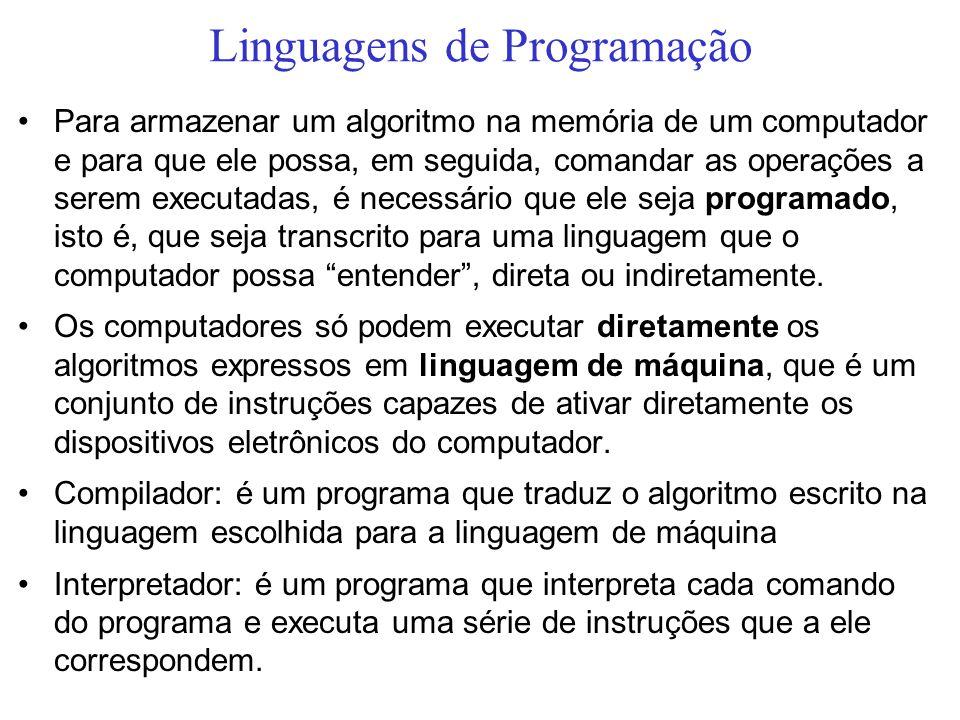 Linguagens de Programação Para armazenar um algoritmo na memória de um computador e para que ele possa, em seguida, comandar as operações a serem exec