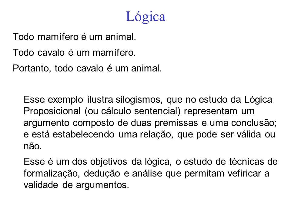 Lógica Todo mamífero é um animal. Todo cavalo é um mamífero. Portanto, todo cavalo é um animal. Esse exemplo ilustra silogismos, que no estudo da Lógi