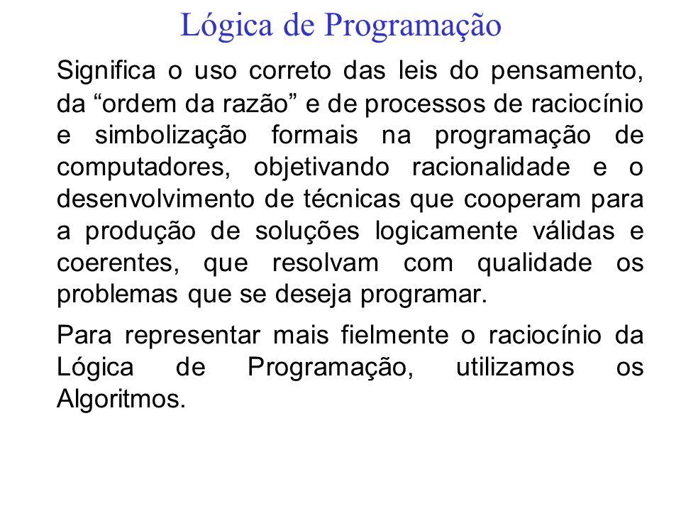 Lógica de Programação Significa o uso correto das leis do pensamento, da ordem da razão e de processos de raciocínio e simbolização formais na program