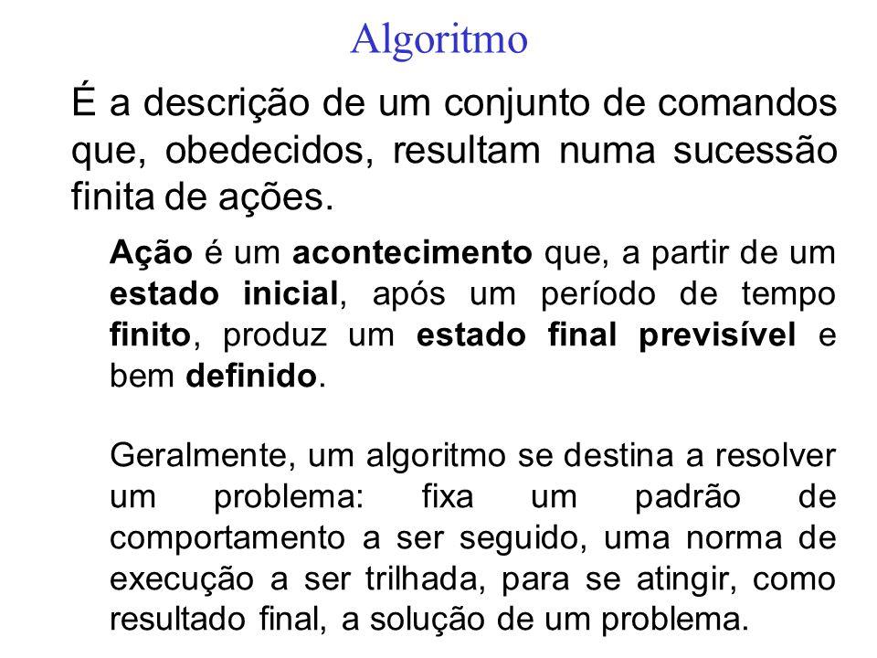 Algoritmo É a descrição de um conjunto de comandos que, obedecidos, resultam numa sucessão finita de ações. Ação é um acontecimento que, a partir de u