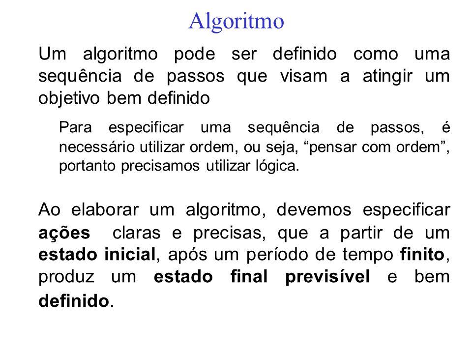 Algoritmo Um algoritmo pode ser definido como uma sequência de passos que visam a atingir um objetivo bem definido Para especificar uma sequência de p