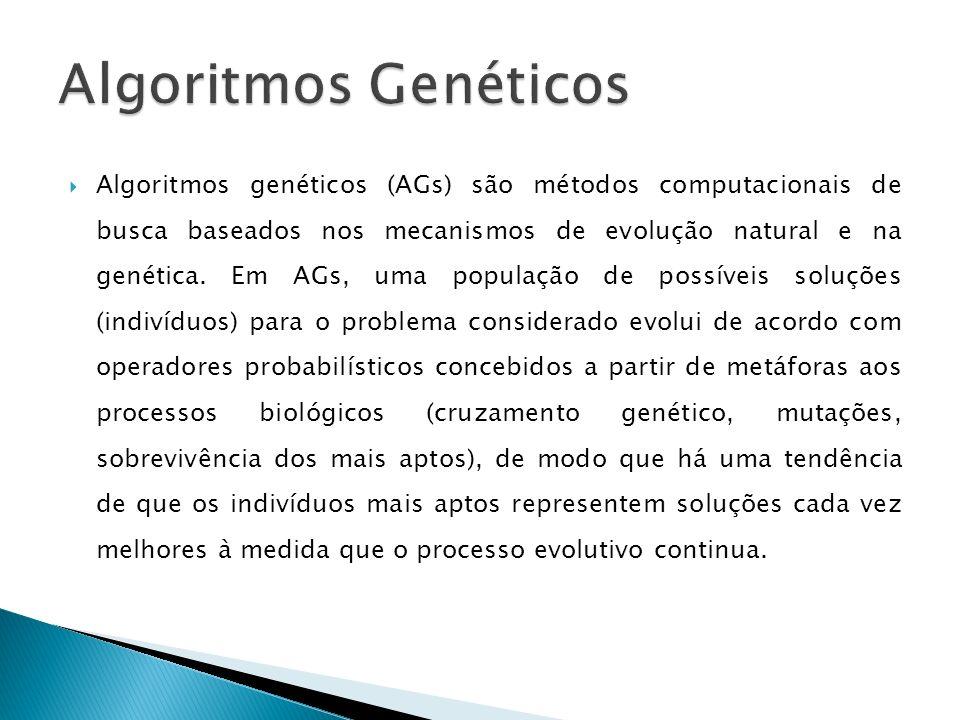 Algoritmos genéticos (AGs) são métodos computacionais de busca baseados nos mecanismos de evolução natural e na genética. Em AGs, uma população de pos