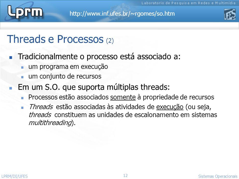 http://www.inf.ufes.br/~rgomes/so.htm 12 Sistemas Operacionais LPRM/DI/UFES Threads e Processos (2) Tradicionalmente o processo está associado a: um p