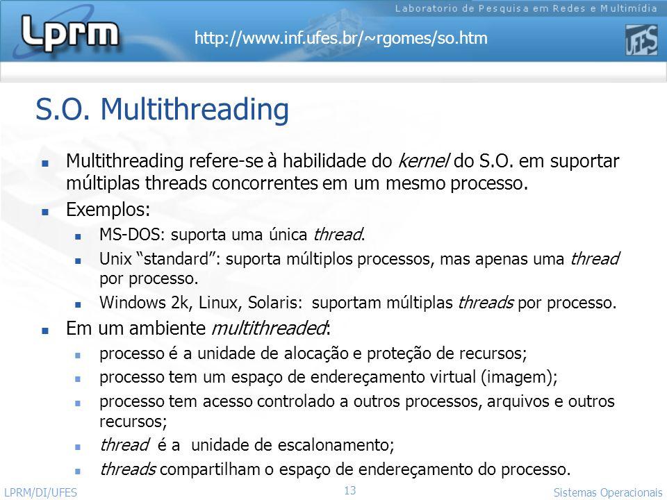 http://www.inf.ufes.br/~rgomes/so.htm 13 Sistemas Operacionais LPRM/DI/UFES S.O. Multithreading Multithreading refere-se à habilidade do kernel do S.O