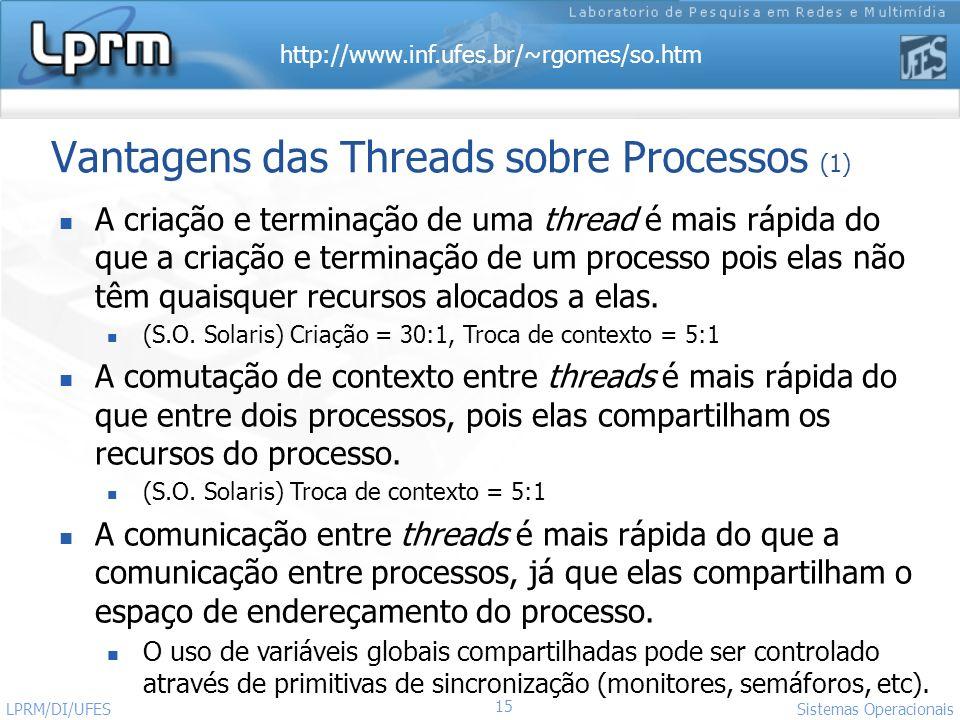http://www.inf.ufes.br/~rgomes/so.htm 15 Sistemas Operacionais LPRM/DI/UFES Vantagens das Threads sobre Processos (1) A criação e terminação de uma th