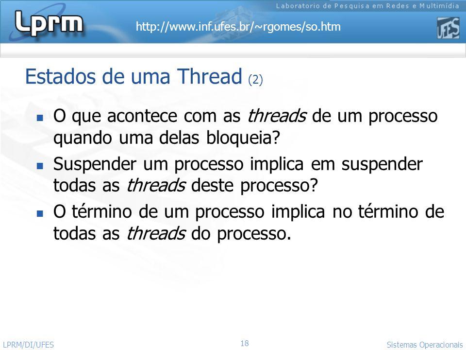 http://www.inf.ufes.br/~rgomes/so.htm 18 Sistemas Operacionais LPRM/DI/UFES O que acontece com as threads de um processo quando uma delas bloqueia? Su