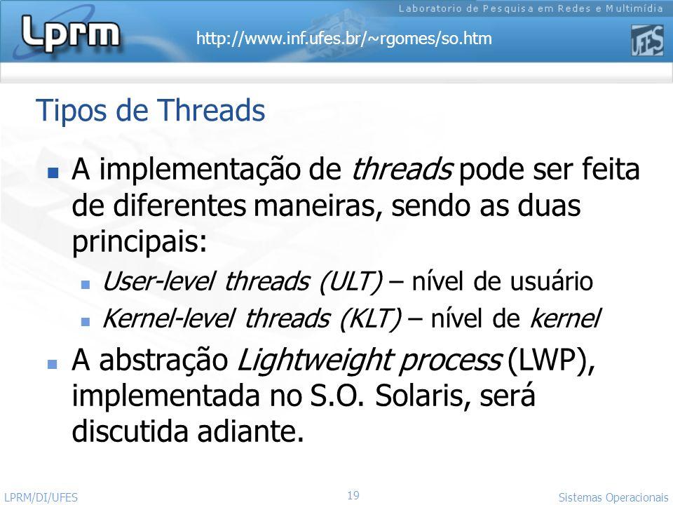 http://www.inf.ufes.br/~rgomes/so.htm 19 Sistemas Operacionais LPRM/DI/UFES Tipos de Threads A implementação de threads pode ser feita de diferentes m