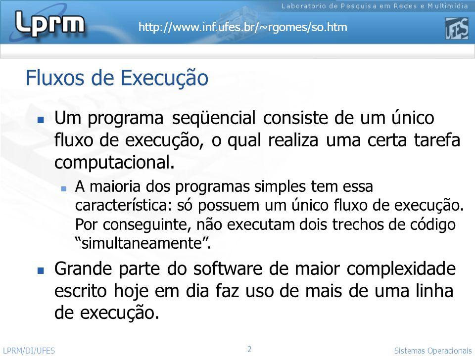 http://www.inf.ufes.br/~rgomes/so.htm 2 Sistemas Operacionais LPRM/DI/UFES Fluxos de Execução Um programa seqüencial consiste de um único fluxo de exe