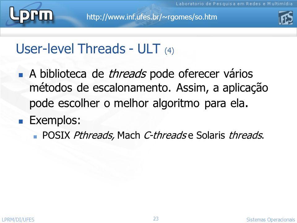 http://www.inf.ufes.br/~rgomes/so.htm 23 Sistemas Operacionais LPRM/DI/UFES User-level Threads - ULT (4) A biblioteca de threads pode oferecer vários