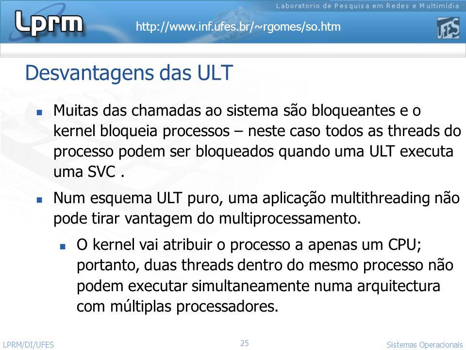 http://www.inf.ufes.br/~rgomes/so.htm 25 Sistemas Operacionais LPRM/DI/UFES Desvantagens das ULT Muitas das chamadas ao sistema são bloqueantes e o ke