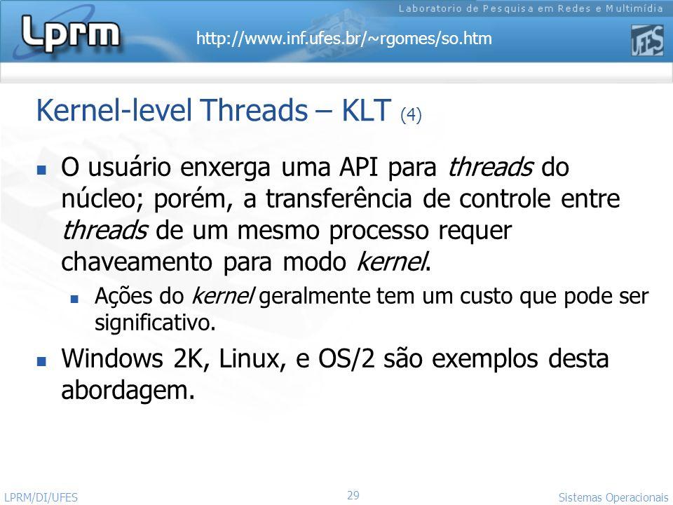 http://www.inf.ufes.br/~rgomes/so.htm 29 Sistemas Operacionais LPRM/DI/UFES Kernel-level Threads – KLT (4) O usuário enxerga uma API para threads do n
