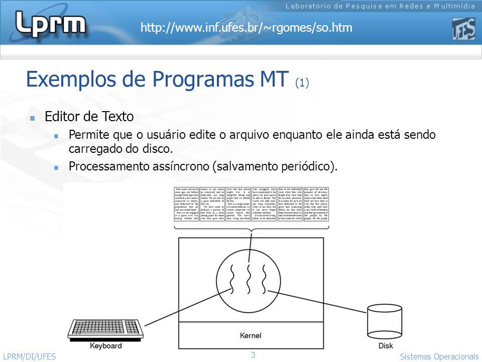http://www.inf.ufes.br/~rgomes/so.htm 3 Sistemas Operacionais LPRM/DI/UFES Exemplos de Programas MT (1) Editor de Texto Permite que o usuário edite o