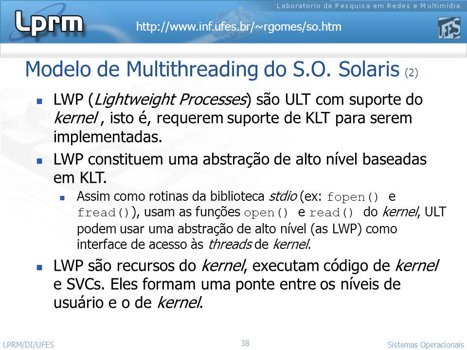 http://www.inf.ufes.br/~rgomes/so.htm 38 Sistemas Operacionais LPRM/DI/UFES Modelo de Multithreading do S.O. Solaris (2) LWP (Lightweight Processes) s
