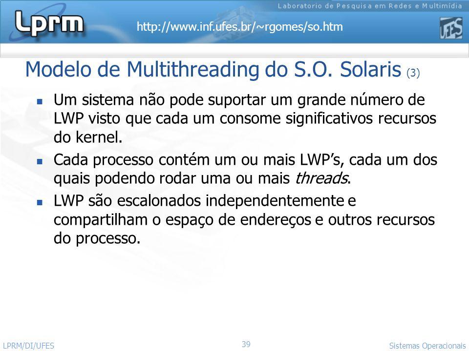 http://www.inf.ufes.br/~rgomes/so.htm 39 Sistemas Operacionais LPRM/DI/UFES Modelo de Multithreading do S.O. Solaris (3) Um sistema não pode suportar