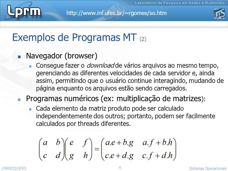 http://www.inf.ufes.br/~rgomes/so.htm 4 Sistemas Operacionais LPRM/DI/UFES Exemplos de Programas MT (2) Navegador (browser) Consegue fazer o download