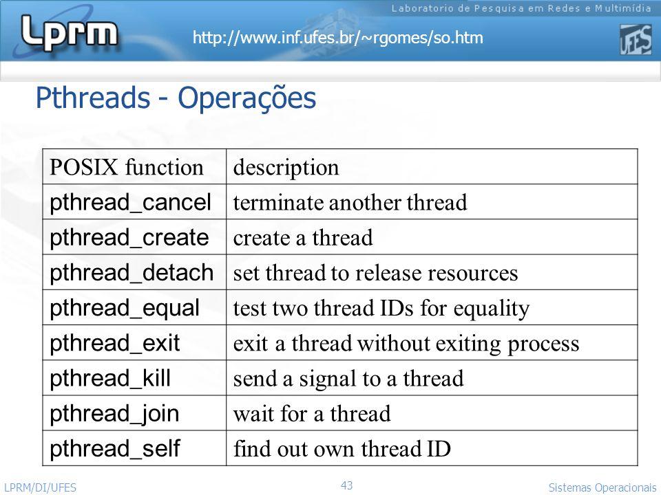 http://www.inf.ufes.br/~rgomes/so.htm 43 Sistemas Operacionais LPRM/DI/UFES Pthreads - Operações POSIX functiondescription pthread_cancel terminate an
