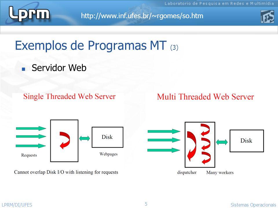 http://www.inf.ufes.br/~rgomes/so.htm 5 Sistemas Operacionais LPRM/DI/UFES Exemplos de Programas MT (3) Servidor Web