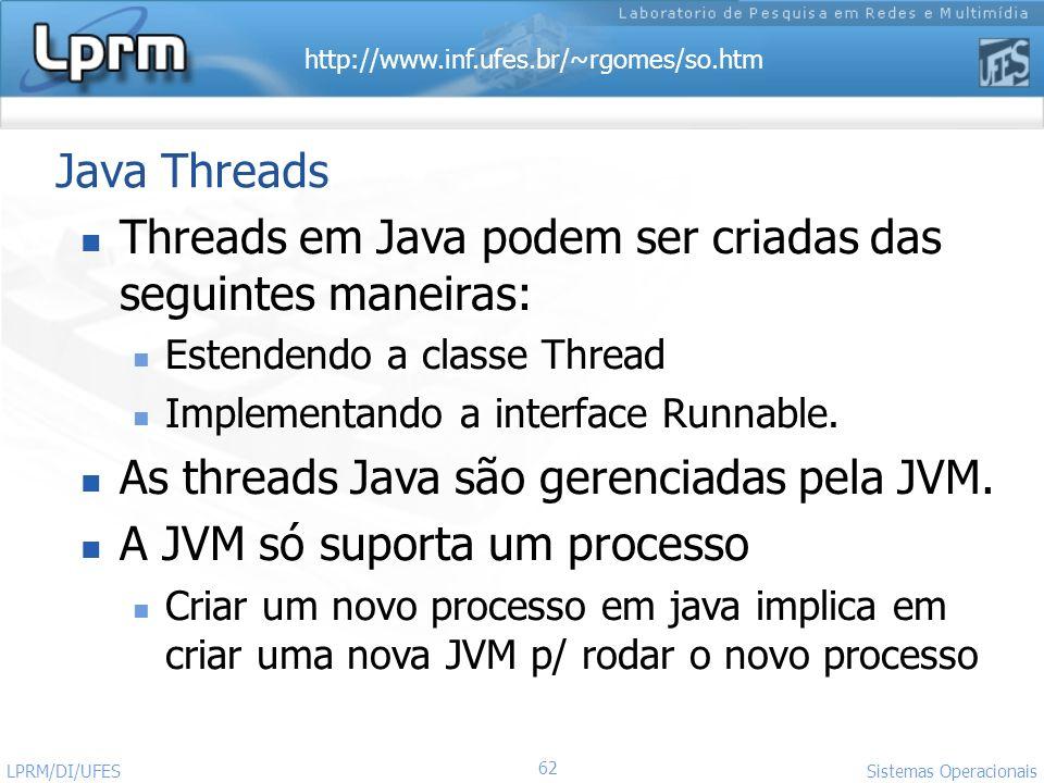 http://www.inf.ufes.br/~rgomes/so.htm 62 Sistemas Operacionais LPRM/DI/UFES Java Threads Threads em Java podem ser criadas das seguintes maneiras: Est