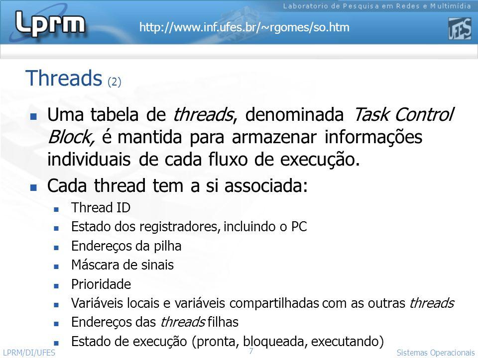 http://www.inf.ufes.br/~rgomes/so.htm 7 Sistemas Operacionais LPRM/DI/UFES Threads (2) Uma tabela de threads, denominada Task Control Block, é mantida