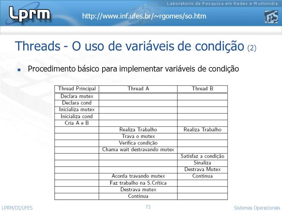 http://www.inf.ufes.br/~rgomes/so.htm 73 Sistemas Operacionais LPRM/DI/UFES Threads - O uso de variáveis de condição (2) Procedimento básico para impl