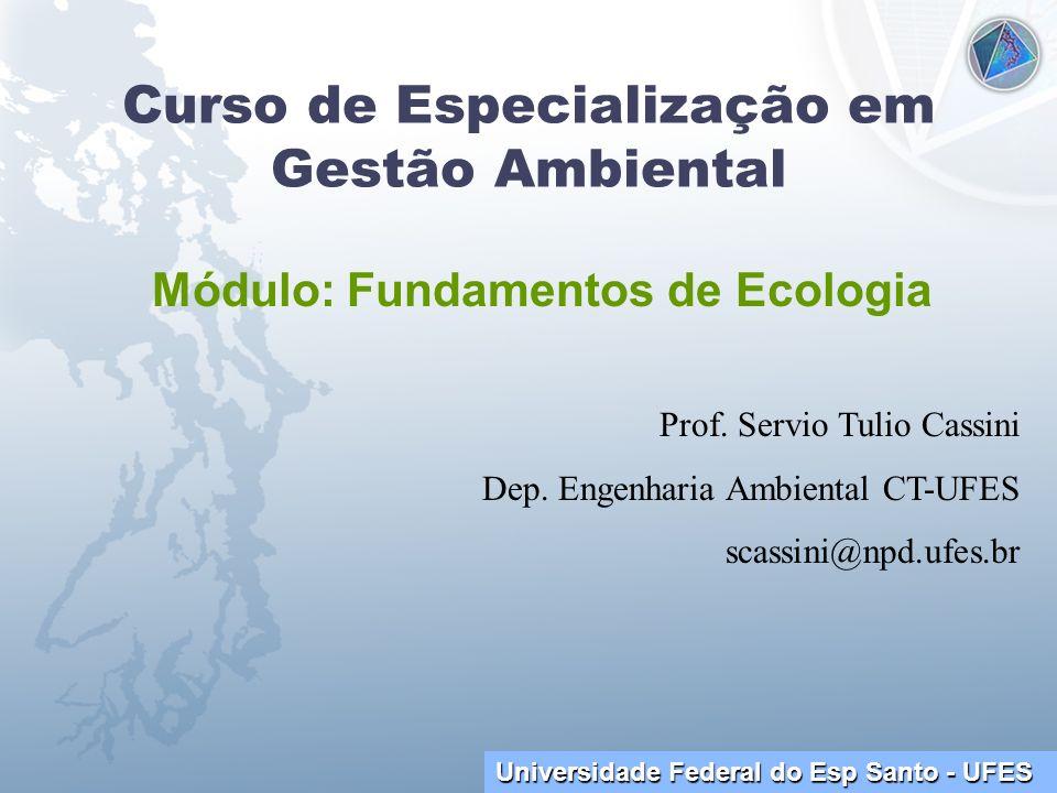 Universidade Federal do Esp Santo - UFES Curso de Especialização em Gestão Ambiental Módulo: Fundamentos de Ecologia Prof. Servio Tulio Cassini Dep. E