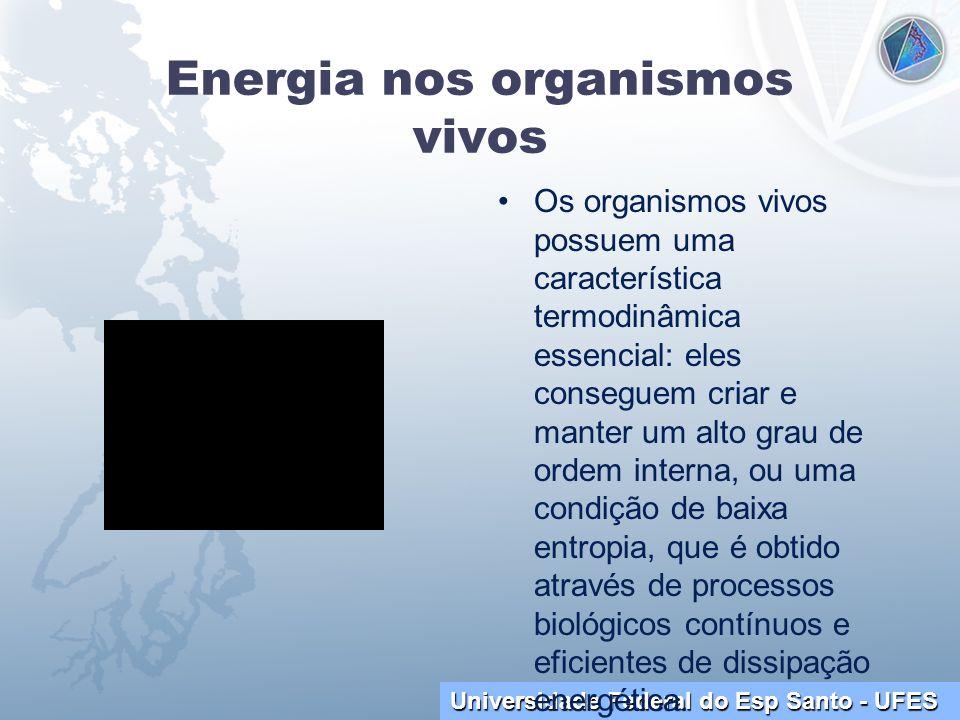 Universidade Federal do Esp Santo - UFES Energia nos organismos vivos Os organismos vivos possuem uma característica termodinâmica essencial: eles con
