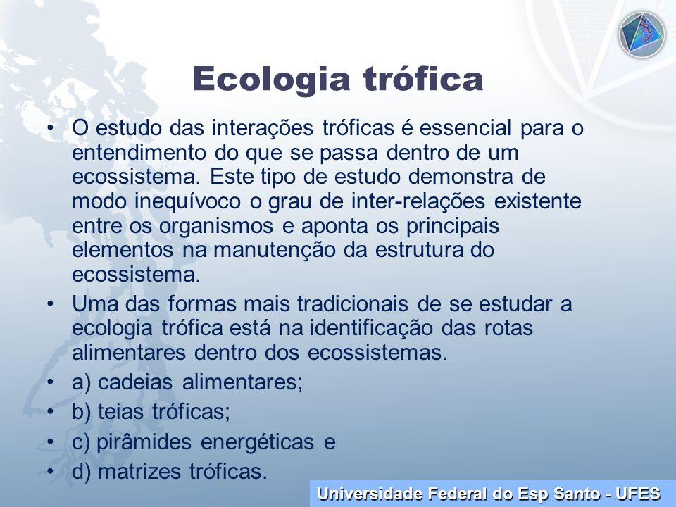 Universidade Federal do Esp Santo - UFES Ecologia trófica O estudo das interações tróficas é essencial para o entendimento do que se passa dentro de u