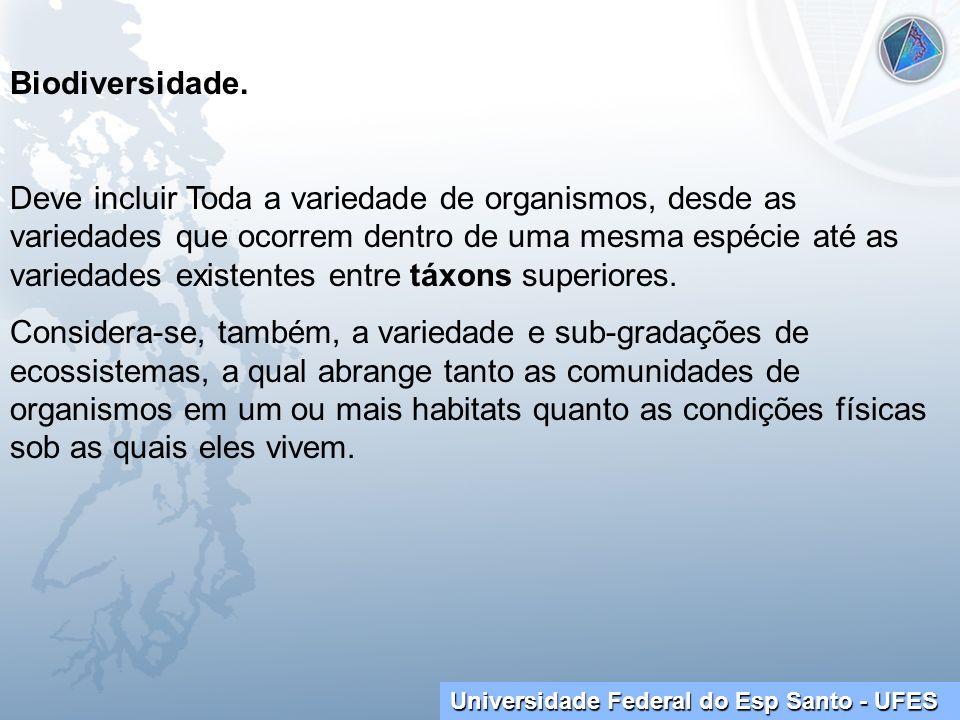 Universidade Federal do Esp Santo - UFES Biodiversidade. Deve incluir Toda a variedade de organismos, desde as variedades que ocorrem dentro de uma me