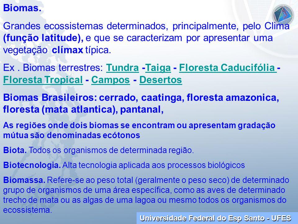 Universidade Federal do Esp Santo - UFES Biomas. Grandes ecossistemas determinados, principalmente, pelo Clima (função latitude), e que se caracteriza