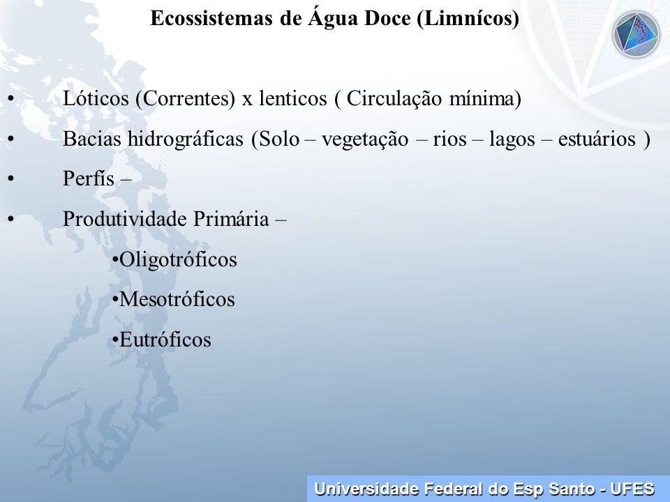 Universidade Federal do Esp Santo - UFES Ecossistemas de Água Doce (Limnícos) Lóticos (Correntes) x lenticos ( Circulação mínima) Bacias hidrográficas